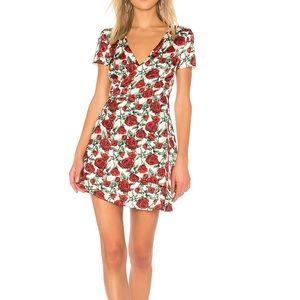 Wyldr Cherry Wine Wrap Dress in Roses NWT size XS